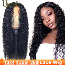 360 Lace Frontal Wig Mongolian Afro Kinky Curly Remy Hair 13x4 Lace Front Human Hair Wigs 180% Density Prepluck Natural Hairline(China)