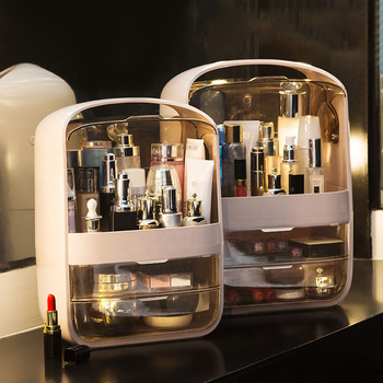 Makeup Organizer Transparent Clamshell 2 Drawer Dressing Table Desktop Plastic Cosmetic Box Storage Containers Jewelry Holder недорого