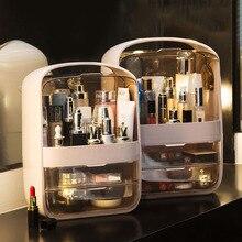 Organizator na przybory do makijażu przezroczyste z klapką 2 szuflady toaletka pulpit z tworzywa sztucznego pudełko na kosmetyki pojemniki do przechowywania stojak na biżuterię