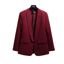 High quality temperament ladies blazer Autumn new slim long-sleeved wine red long jacket suit female Office top 2019