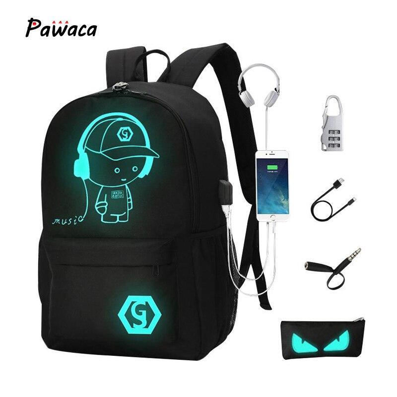 Men's Backpack Computer-Security-Backpack School-Bag Usb-Charging Multi-Function Anime