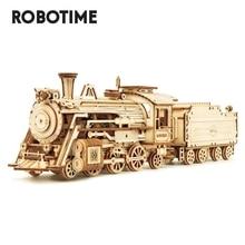 Robotime Rokr DIY 308Pcsเลเซอร์ตัดMovableไอน้ำรถไฟไม้ชุดอาคารชุดประกอบของขวัญของเล่นสำหรับเด็กผู้ใหญ่MC501
