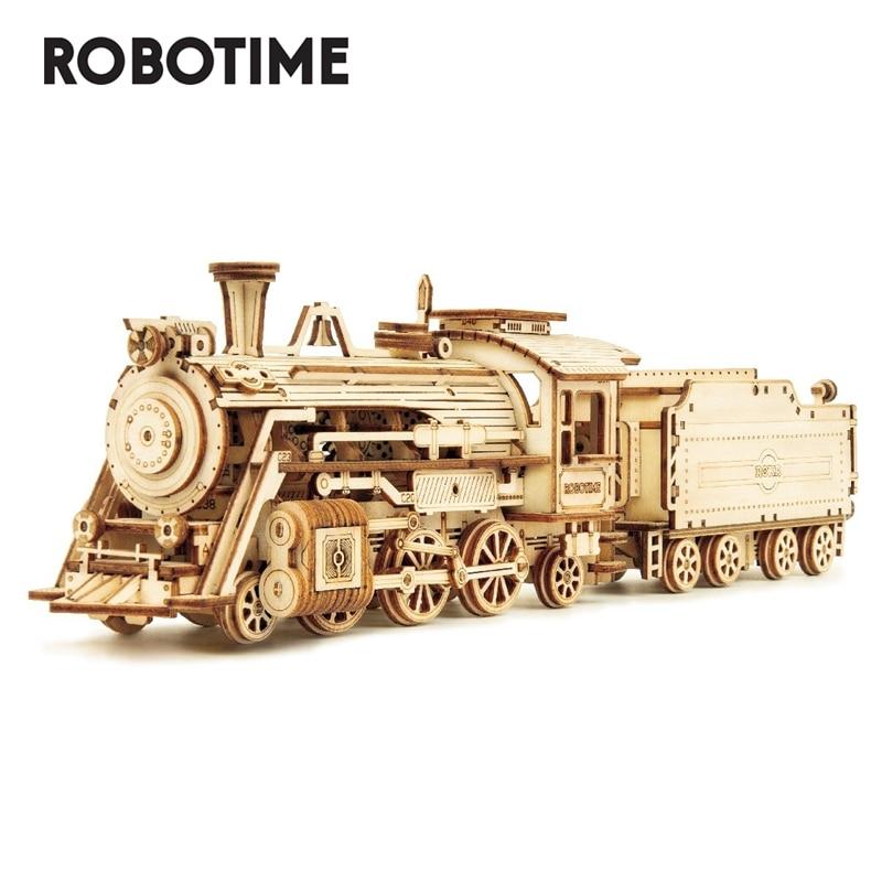 Robotime Rokr DIY 308 шт. лазерная резка подвижный паровой поезд деревянная модель строительные наборы сборка игрушка подарок для детей и взрослых ...
