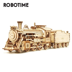 Image 1 - Robotime Rokr DIY Laser Cutting Movable Steam Train Wooden Model Building Kits Assembly Toy Gift for Children Adult MC501