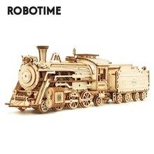 Robotime Rokr bricolage 308 pièces découpe Laser mobile Train à vapeur en bois modèle Kits de construction assemblage jouet cadeau pour enfants adulte MC501