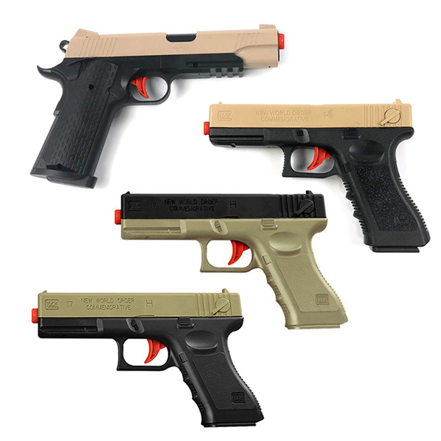 Outdoor Toys Kids Guns Weapon M1911 Pistol Airsoft Air Guns Plastic Model Collection Can Launch Guns Boys Toy For Kids 2