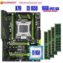 Huananzhi x79 placa-mãe lga2011 combos e5 1650 c2 4 pces x 4gb = 16gb 10600r 1333mhz pci-e nvme m.2 ssd usb3.0 dissipador de calor