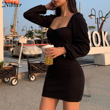 Nibber Harajuku pure knitting full sleeve low cut dress women 2019 office lady street casual black red simple bodycon mini dress