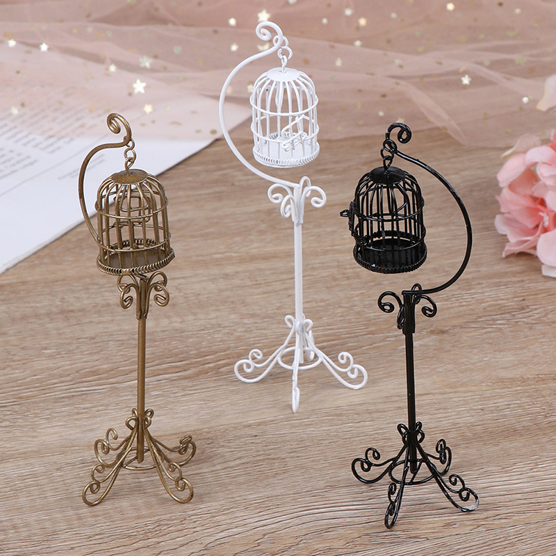 3 Colors 1:12 Mini Dollhouse Metal Bird Cage Model With Holder Alloy Miniature Decorations Modern Home Room Crafts