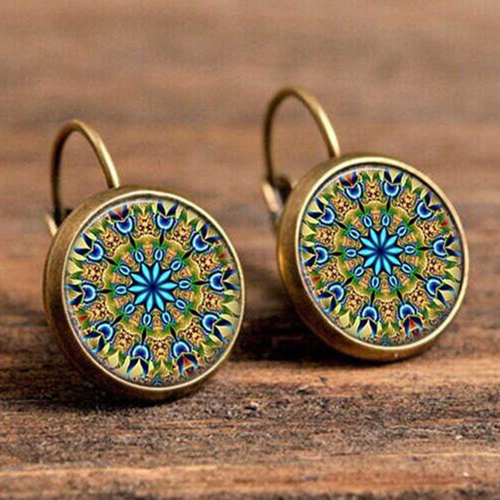 H93308102bc3d46a0be2d02eb6daa201cb - FSUNION Boho Flower Drop Earrings For Women Vintage Jewelry Geometric Pattern Round Earings Bijoux boucles d'oreilles bohemia