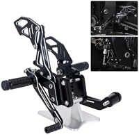 Black Silver Basic Design CNC Motorcycle Reat Footrest Foot Pedal Pegs Set For Suzuli GSX R 600 750 GSX-R GSXR D40