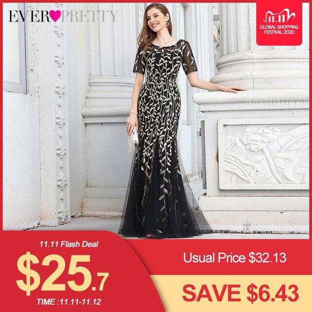 Formelle robes de soirée 2020 jamais jolie nouvelle sirène O cou à manches courtes dentelle Appliques Tulle longues robes de soirée Robe de soirée Sexy