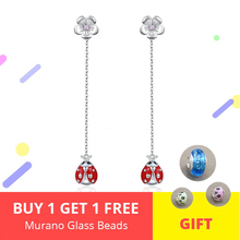 Cute Ladybug Earrings Authentic 925 Sterling Silver Flower Insect Stud For Women Jewelry Lover Gift