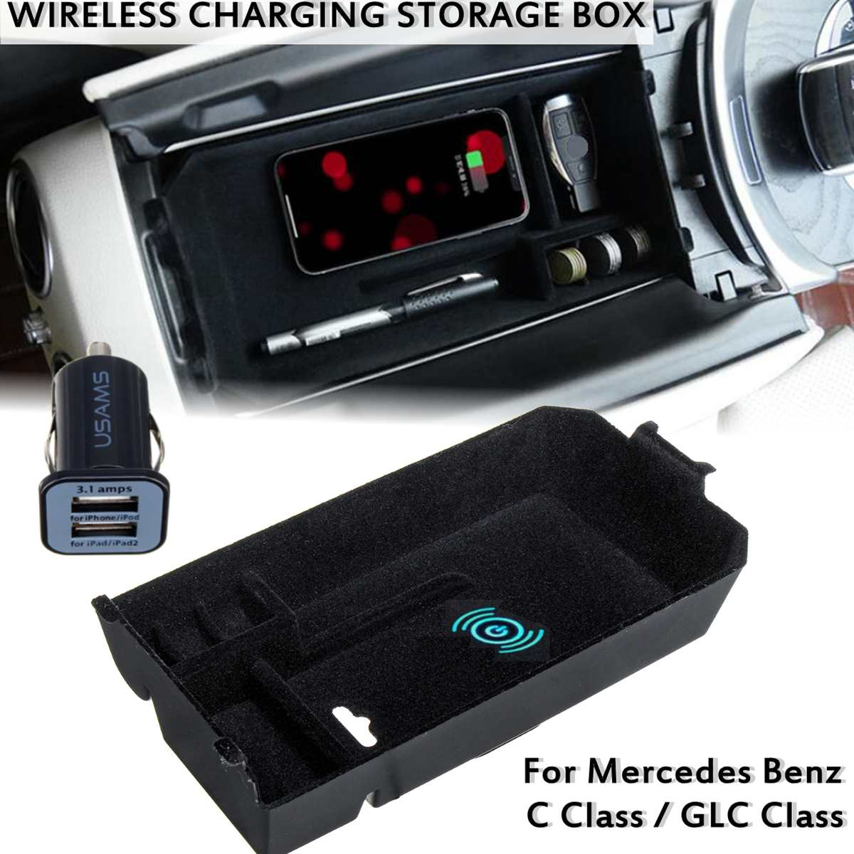 Car Wireless Charger Phone Holder Wireless Charging Central Armrest Storage Box Coin Box For Mercedes For Benz GLC C Class LHD