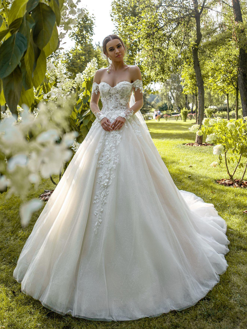 Wedding-Dress Beaded Charming Appliques Bride Full-Sleeve Princess Luxury A-Line Sweetheart