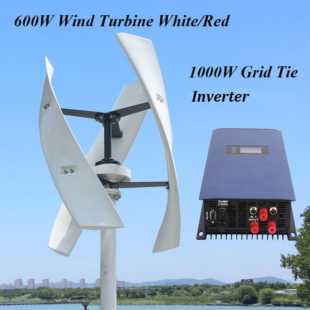 Household 600w 12v 24v 48v vertical axis maglev wind solar generator for on grid system with 1000w inverter