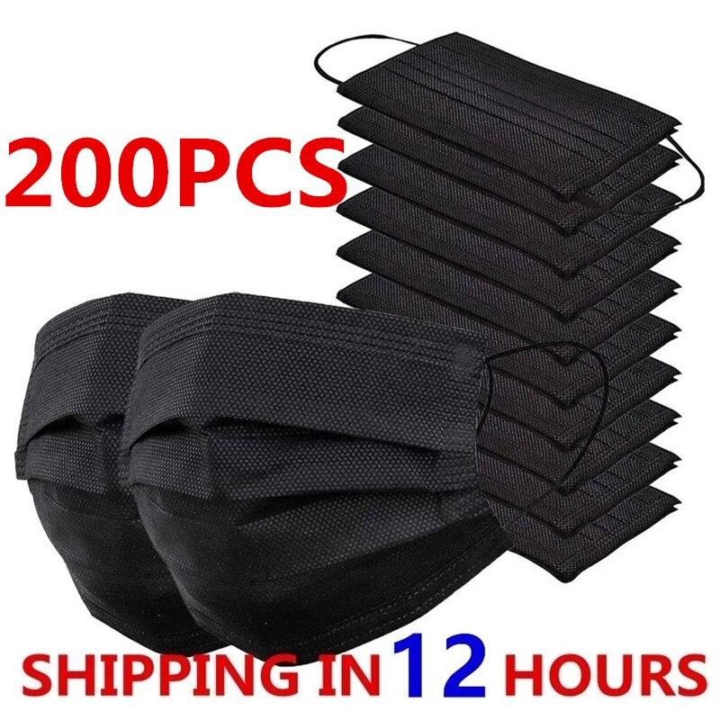 10-200 máscara facial descartável dos pces preto nonwove 3 camada máscara boca medic anti poeira respirável máscaras cirúrgicas adultas protetoras
