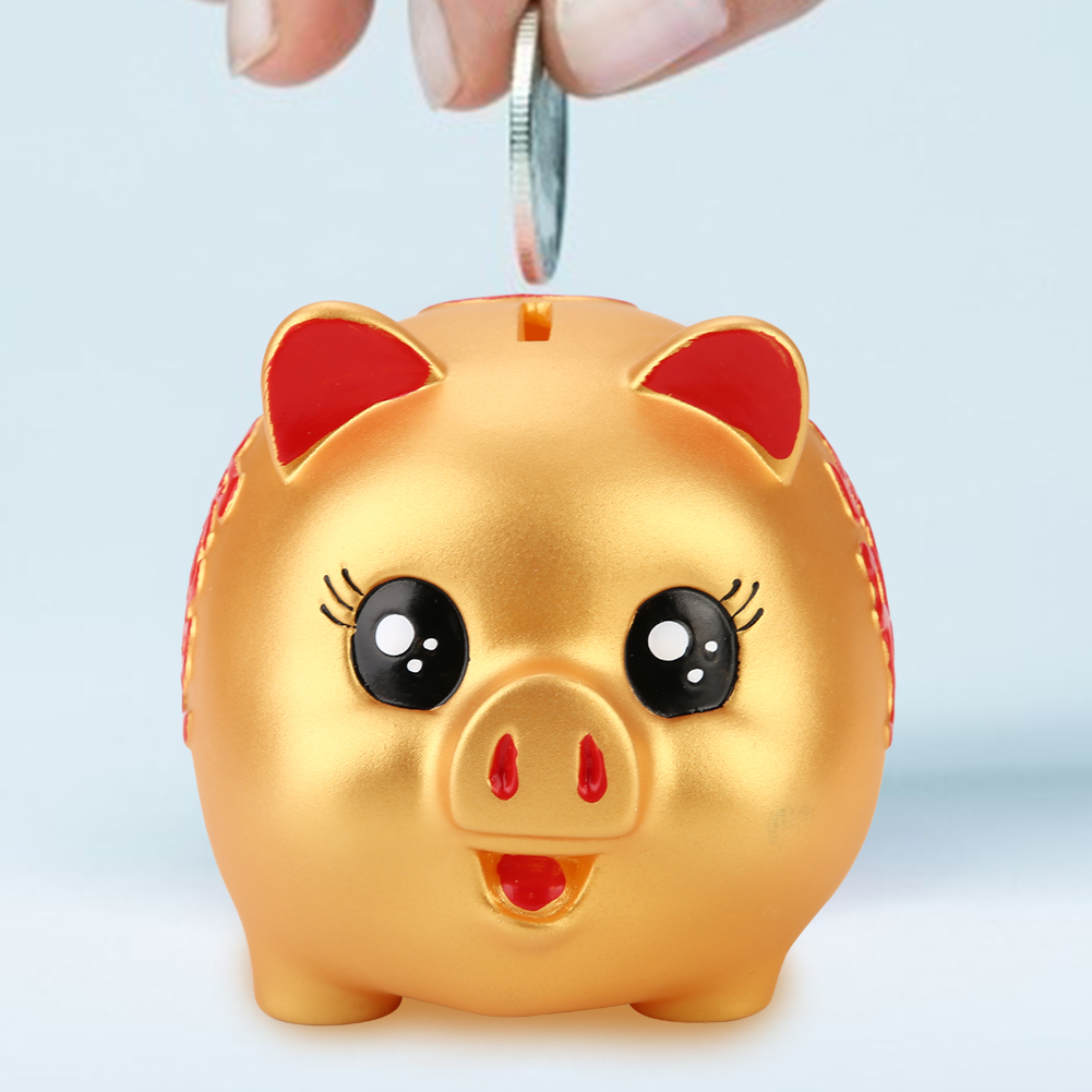 Golden Cute Cartoon Pig Shaped Money Boxes Children Toys Birthday Gift Home Decor Money Saving Boxes Pig Bank Coins Storage Box