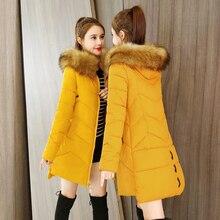 Женская зимняя куртка на молнии с капюшоном, черная, желтая, красная, тонкая, с хлопковой подкладкой, теплая парка средней длины, женская зимняя куртка