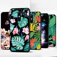 Para LG K40/K12 Plus/K12/X4 2019 Caso Preto Macio TPU Caso de Telefone Colorido Pintado Planta cobrir Para LG K8 K10 2018 K4 K7 K8 2017