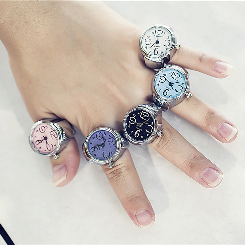 Ring Watch Fashion Trend Student Mini Ring Watch Pink Green Round Dial Simple Casual Finger Decoration Holiday Gift