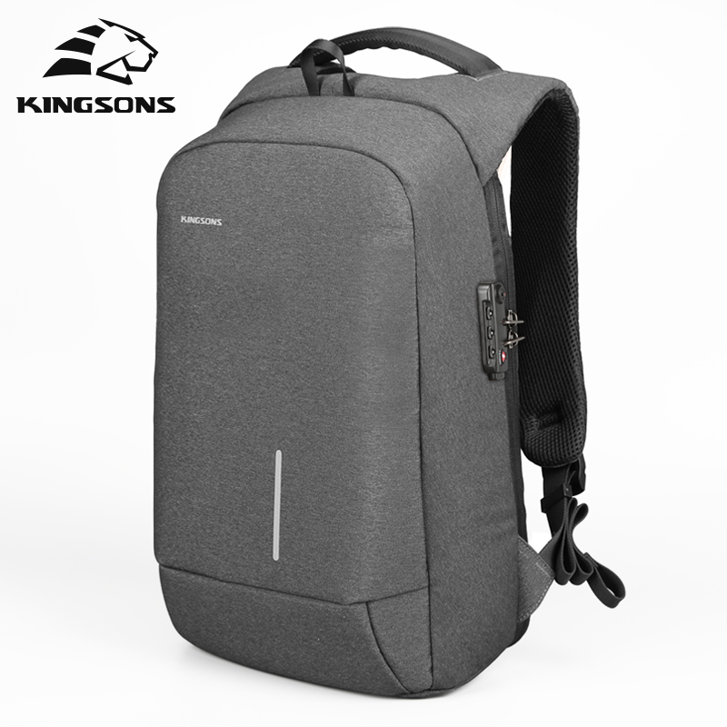 Kingsons Splashproof 15'inch Laptop Backpack NO <font><b>Key</b></font> <font><b>TSA</b></font> Anti Theft Men Backpack Travel Teenage Backpack bag male bagpack mochila image