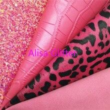 Glitter-Fabric Crocodile Faux-Leather Suede Leopard ROSE 1PCS for Bow DIY F27A 21x29cm