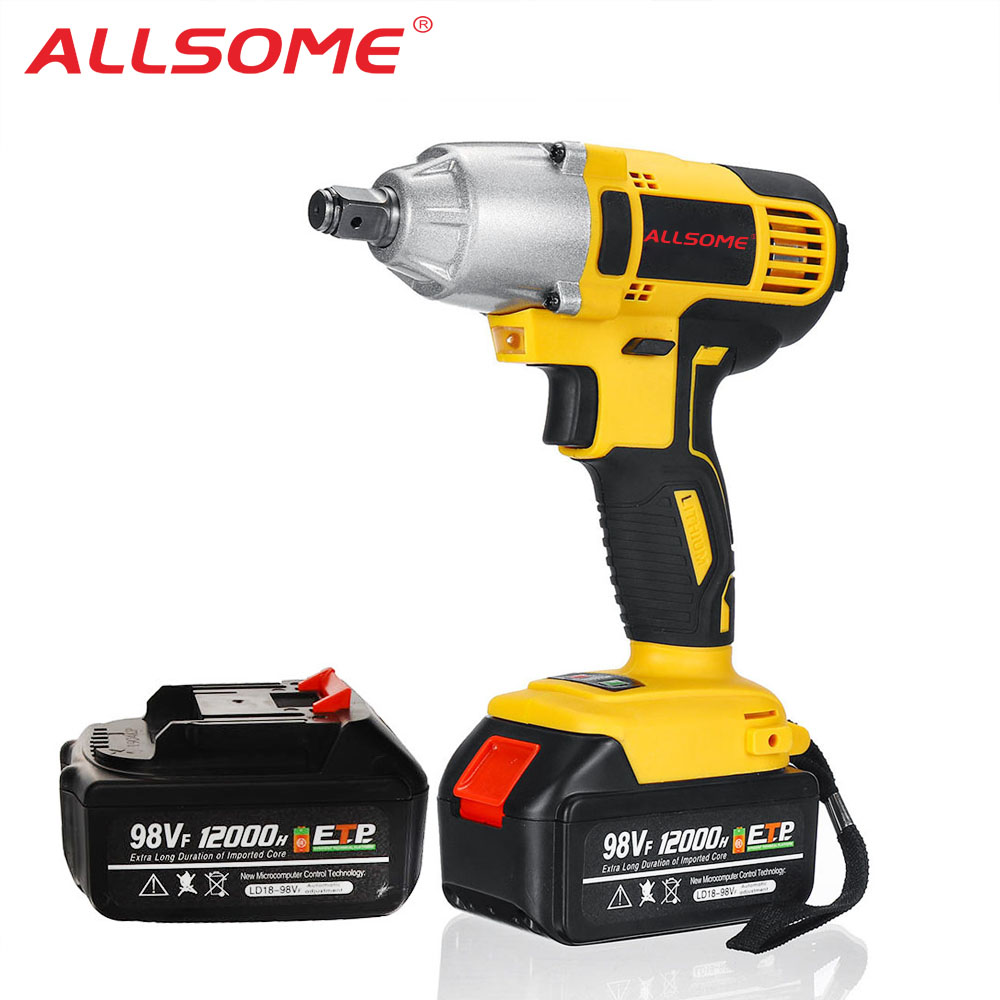 ALLSOME 98VF 320Nm 12000mAh Cordless Electric Impact Wrench Drill Screwdriver 110-240V with TWO Batteries