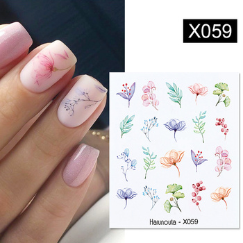 1Pc Spring Water Nail Decal And Sticker Flower Leaf Tree Green Simple Summer DIY Slider For Manicuring Nail Art Watermark 1