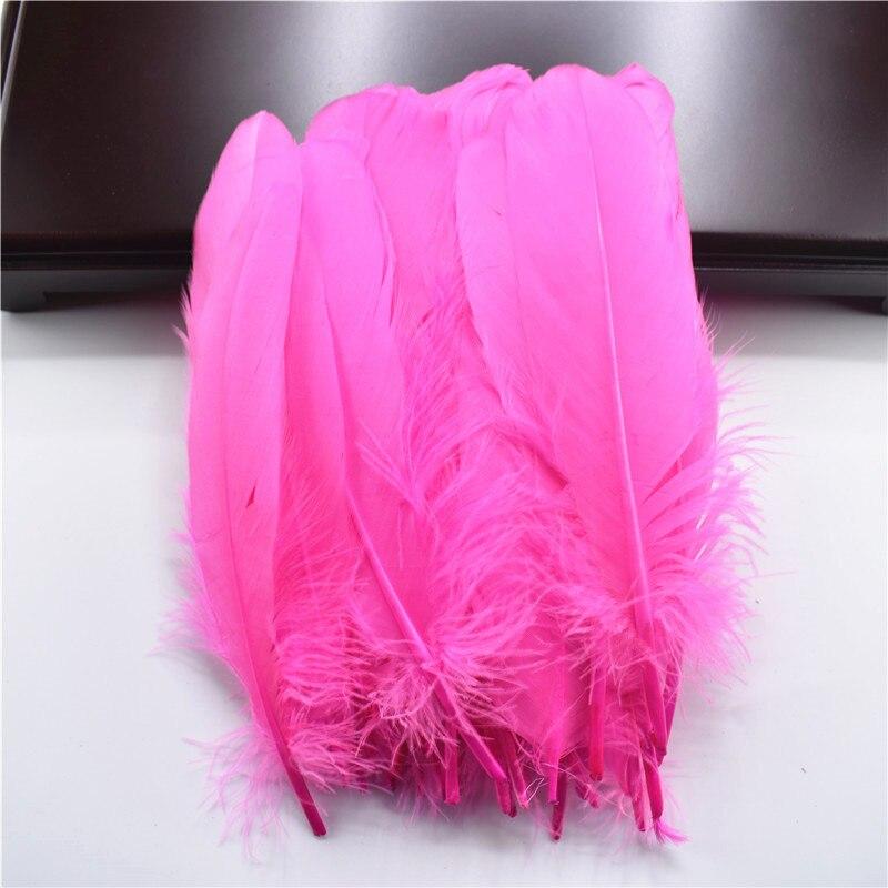 Жесткий полюс, натуральные гусиные перья для рукоделия, 5-7 дюймов/13-18 см, самодельные ювелирные изделия, перо, свадебное украшение для дома - Цвет: Hot Pink