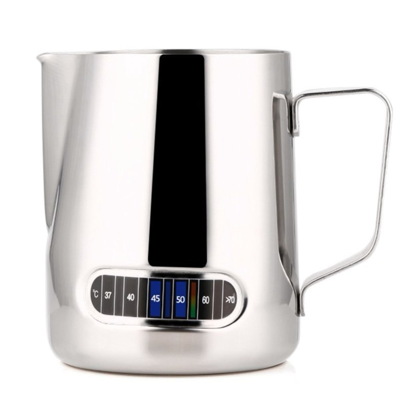 Stainless Steel Pitcher with Thermometer Milk Frothing Jug Espresso Coffee Pitcher Barista Craft Milk Frothing Jug 600Ml|Coffee Art Needles| |  - title=