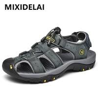 MIXIDELAI Genuine Leather Men Shoes Summer New Large Size Men's Sandals Men Sandals Fashion Sandals Slippers Big Size 38-47 1