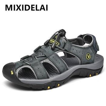 Genuine Leather Men Fashion Sandals Slippers Big Size 38-47 1
