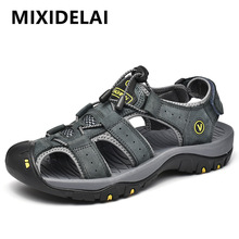 Men Shoes Slippers Men's Sandals MIXIDELAI Big-Size Genuine-Leather Summer New 38-47