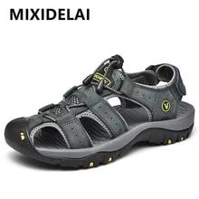 Men Shoes Slippers Men's Sandals MIXIDELAI Big-Size Genuine-Leather Summer New 38-47