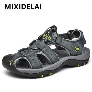 MIXIDELAI Genuine Leather Men Shoes Summer New Large Size Mens Sandals Men Sandals Fashion Sandals Slippers Big Size 38-47