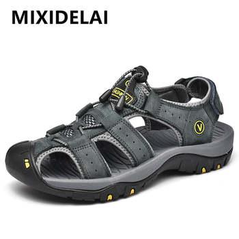 MIXIDELAI Genuine Leather Men Shoes Summer New Large Size Mens Sandals Men Sandals Fashion Sandals Slippers Big Size 38-47