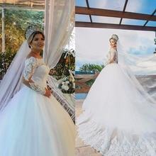 Robe de mariée luxueuse à manches longues, pleine à perles, robe de bal, 2020