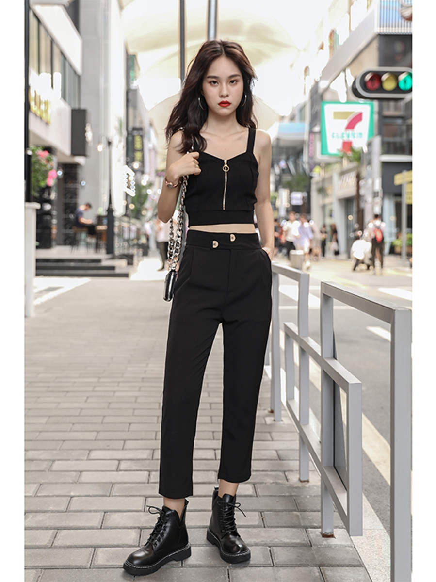 H93323d643bf8450fb6752e96bc641899w - HELIAR Tops Women Crop Top Club Sexy Zipper Knitting Camisole With Hole Female Tank Tops Ladies Sleeveless Solid Strap Top Women