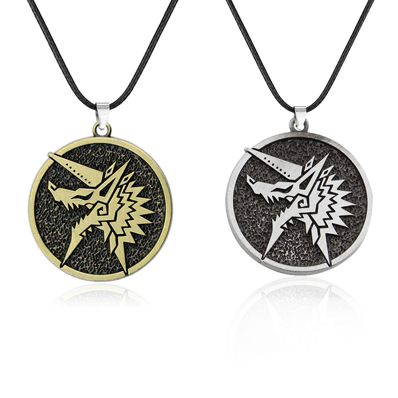 Game Monster Hunter Choker Necklace Wolf Head Logo Pendant for Men Woman <font><b>Fans</b></font> Metal Alloy <font><b>Jewelry</b></font> Gift Dropshipping image