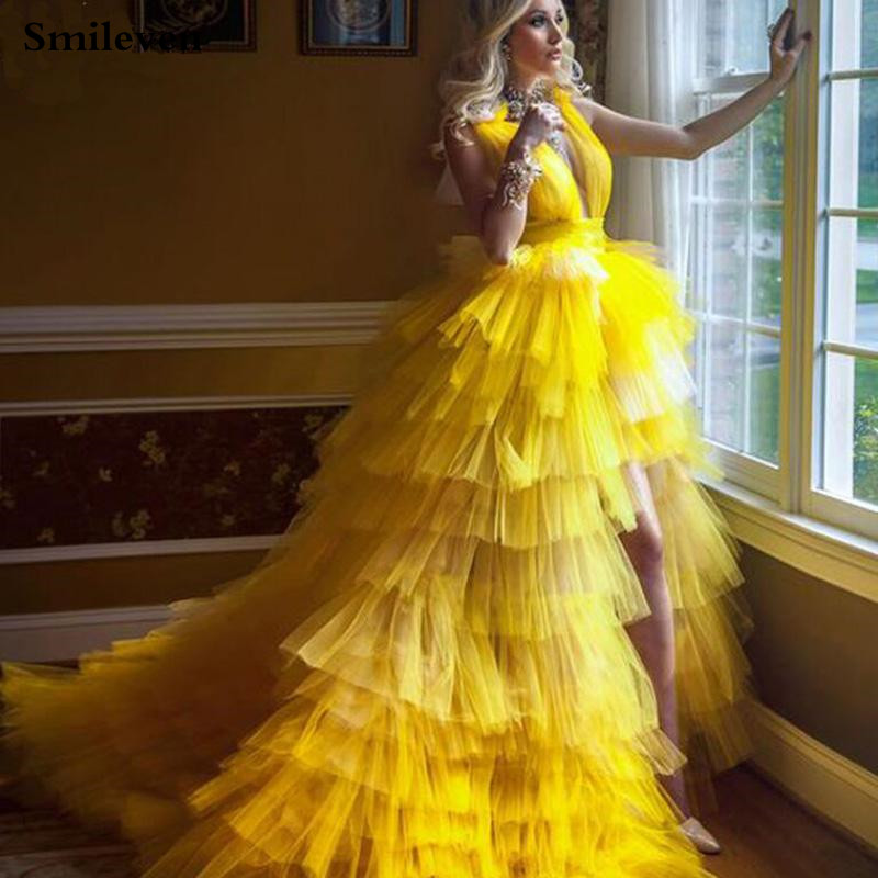 Smileven Princess Prom Gowns High Low Tiered Puff Tulle Long Evening Dress Deep V Neck Prom Party Dresses Custom Made 1