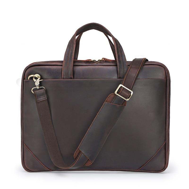 Men's Briefcase Genuine Leather Man Travel Vintage Casual Business 15″ Laptop Hand Briefcase Bag Male Shoulder Bags