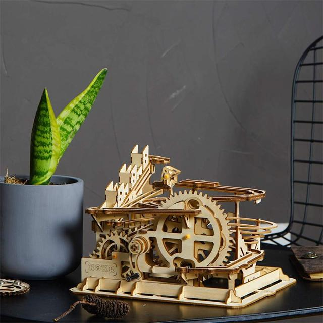 Robotime 4 Kinds Marble Run Game DIY Waterwheel Wooden Model for Kids