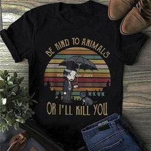 John fitil tür hayvanlar veya'll öldürmek size T-Shirt siyah pamuklu erkek 5XL Retro T gömlek erkekler Unisex yeni moda Tshirt