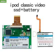 Novo ssd e bateria para ipod classic 7gen 128gb ipod vídeo 5th geração substitui mk3008gah mk8010gah mk1634gal ipod 256g 512gb