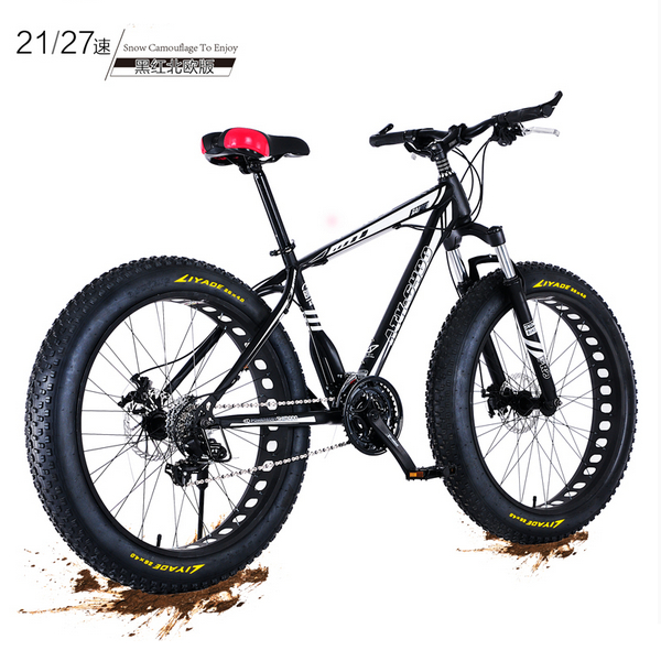 New X Front brand 4.0 fat wide tire 26 inch 21/27 speed carbon steel mountain bike beach downhill bicycle snowmobile bicicleta|Bicycle| |  - title=