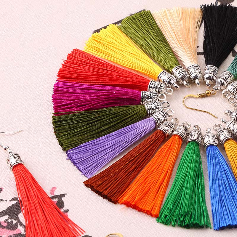 20pcs/lot 26 Colors 6cm Small Silk Tassel Cords with Metal Caps Earrings Tassel Charm Pendant Fit DIY Jewelry Making Findings