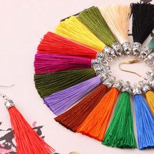 20pcs/lot 26 Colors 6cm Small Silk Tassel Cords with Metal Caps Earrings Tassel Charm Pendant Fit DIY Jewelry Making Findings
