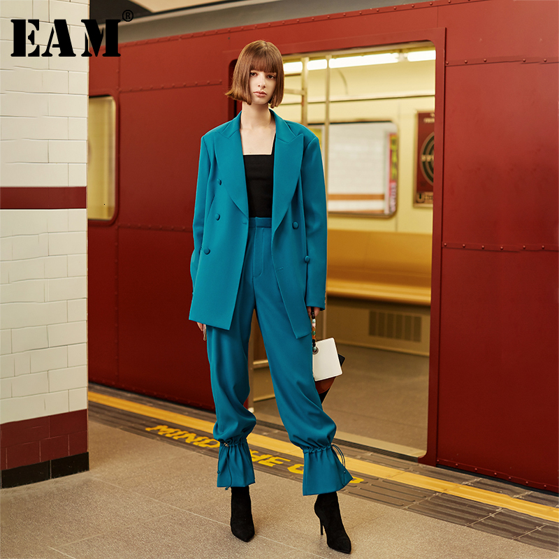 [EAM] Wide Leg Long Pants Two Piece Suit New LapelLong Sleeve Black Loose Fit Women Fashion Tide Spring Autumn 2020 1H834