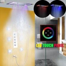 Душевой кран для ванной, набор душевой панели, потолочный светодиодный душевой смеситель для ванной комнаты, горячий и холодный или Термостатический смеситель для ванны